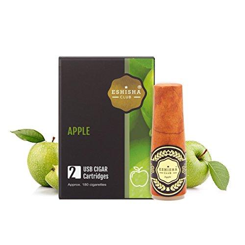 KNUQO Wiederaufladbare E Cigar Einweg-Cartomizer – Apfel-Geschmack | 2 Stück| eShisha e Zigarette Refill | Elektronische Zigarette-e Shisha Stick | Nikotinfrei | e Shisha | eShisha Club