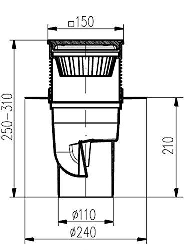 Hofablauf-mit-Kunststoffrost–Belastung-bis-300-kg-Kunststoffkorb-DN-110