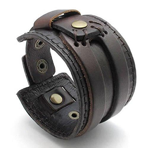 Mendino Leder-Armband / Armreif für Herren Damen, breit, handgefertigt, Manschette, Schmuck