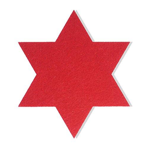 FILU Filzuntersetzer Sterne 8 Stück (Farbe wählbar) Untersetzer je 10 cm x 10 cm rot – Untersetzer aus Filz für Tisch und Bar als Glasuntersetzer / Getränkeuntersetzer für Glas und Gläser Dekoration