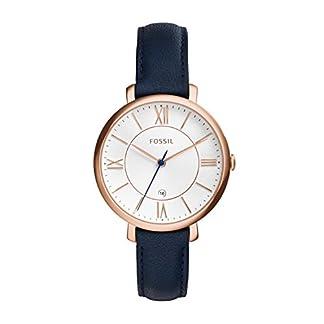 Fossil-Jacqueline-Leder-Armbanduhr-Damen-blau-Mit-Edelstahlgehuse-rosgold-Quarz-Uhrwerk-analoger-Datumsanzeige-idealer-Begleiter-fr-jede-Gelegenheit