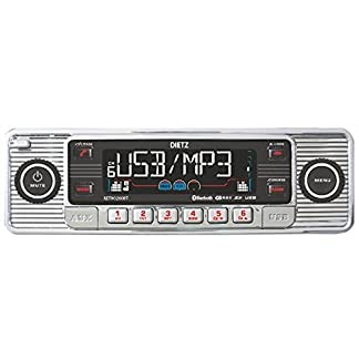 Dietz-RETRO200BT-Autoradio-1-DIN-Retro-Bluetooth-Radio-CD-MP3-USB-SD-RDS-AUX-mit-Fernbedienung-Farbe-Chrom