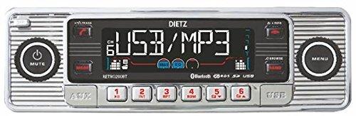 Dietz-RETRO200BT-Autoradio-1-DIN-Retro-Bluetooth-Radio-CD-MP3-USB-SD-RDS-AUX-mit-Fernbedienung-Farbe-Chrom