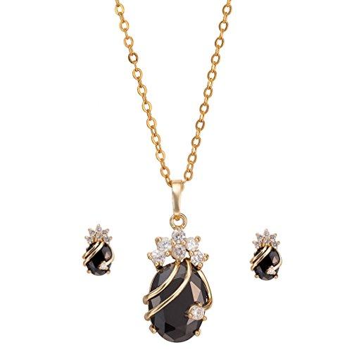 YAZILIND Frauen 18K Gold überzogene Charme-Ketten-Anhänger-Halsketten -Bolzen-Schmuck-Set für Hochzeit