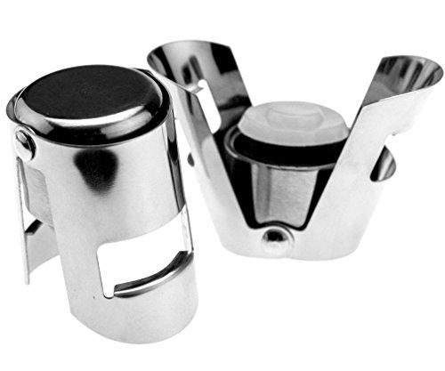 2-X-Wine-Sektflaschenverschluss-Glitzernd-Rostfrei-Flaschenverschluss-Stahl