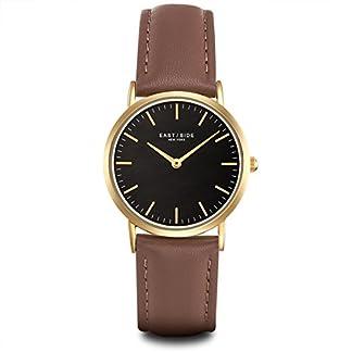 Eastside-Damenuhr-Edelstahl-Gelbgold-Echtleder-Hellbraun-3-ATM-Quarzuhr-fr-Damen-Fashion-Minimalistische-Uhr