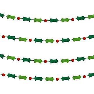 4-Stck-Weihnachten-Filz-Banner-Pom-Pom-Girlande-Stechpalme-Beeren-Girlanden-fr-Hngende-Weihnachten-Dekorationen