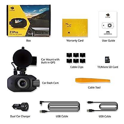 Z-Edge-GPS-Dashcam-Dual-Autokamera-Full-HD-1080P-20-Zoll-LCD-Bildschirm-Infrarot-Nachtsicht-Superkondensator-Loop-Aufnahme-WDR-G-Sensor-Bewegungserkennung-inkl-32GB-MicroSD-Karte