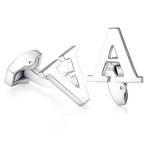 Hanana Herren Brief Buchstabe Alphabet Anfangsbuchstaben Manschettenknöpfe , Edelstahl Hochzeit Cufflink Geschenk,A-Z,Silber