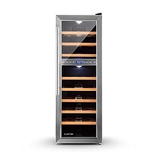 Klarstein-Reserva-27D–Weinkhlschrank–Getrnkekhlschrank–76-L–27-Flaschen–2-Zonen–8-Holzeinschbe–sehr-leise–verstellbare-Standfe–freistehend–schwarz-silber