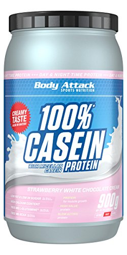Body Attack 100% Casein Protein, Strawberry White-Chocolate, 900 g