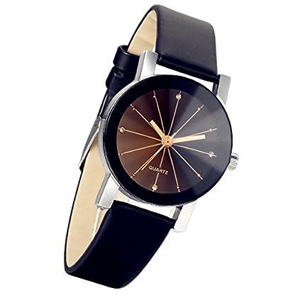 lancardo-Damen-schwarz-runden-Zifferblatt-Uhr-Lederband-Quarz-Armbanduhr-schwarz