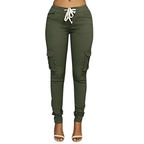LAEMILIA Damen Stretch Beiläufig Skinny Hose Freizeithose in Khaki, Grün,Weiß