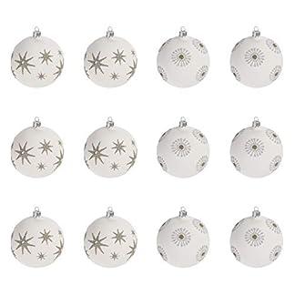 Multistore-2002-12-Stck-Weihnachtskugeln-6cm-2-Sorten-Wei-Glaskugeln-Weihnachtsbaumkugeln-Christbaumkugeln-Christbaumschmuck-Baumschmuck-Dekokugeln