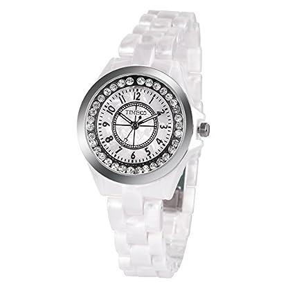 TIME100-NEU-Hochtechnologie-Keramik-Strass-Damen-Armbanduhr-Ultra-Slim-Saphir-Glas-Runde-Analog-Quarz-Blau-W50297L02A