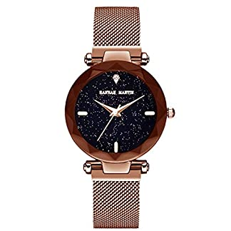 RORIOS-Fashion-DamenFrauen-Analog-Quarzuhr-Armbanduhren-Mesh-Armband-Magnetband-Sternenklarer-Himmel-Dial-Armbanduhr