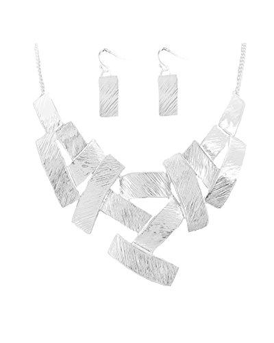 Schmuckanthony Schönes Trendiges Schmuckset Kette Ohrringe Anhänger Versilbert Metall Silber gestreift graviert