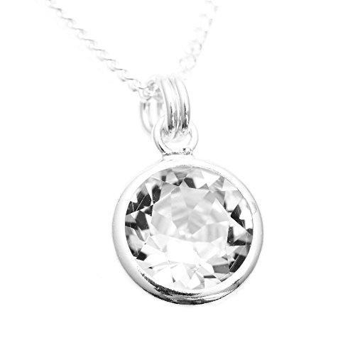 pewterhooter. 925er Sterling Silber Anhänger und Kette handgefertigt mit funkelndem Diamant weiß Kristall von SWAROVSKI® in Silberfassung.