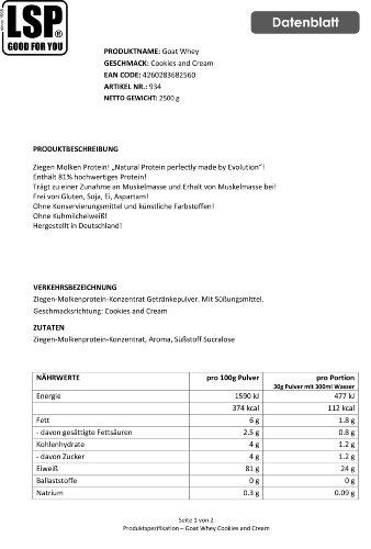 LSP Goat Whey (Ziegen Molken Protein) Cookies and Cream, 1er Pack (1 x 2.5 kg)