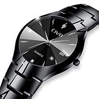 CIVO-Herren-Uhren-Wasserdicht-mit-Schwarz-Edelstahl-Armband-Minimalistisch-Luxus-Armbanduhr-Tag-Datum-Kalender-Mode-Beilufig-Einfach-Entwurf-Klassisch-Herren-Analog-Quarz-Uhr