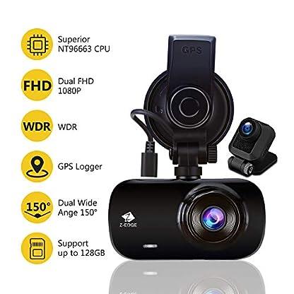 Z-Edge-GPS-Dashcam-Dual-Autokamera-Ultra-HD-1440P-mit-Rckkamera-Full-HD-1080P-27-Zoll-LCD-Bildschirm-150-Weitwinkelobjektiv-Loop-Aufnahme-WDR-G-Sensor-Bewegungserkennung-Parkberwachung