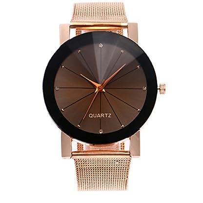 Homim-Unisex-Armbanduhr-rosegold-Farbe-Mesh-Edelstahl-Armband-Braun-Zifferblatt-Damen-Herren-Uhren-Batterie-Analog-Quarzuhr