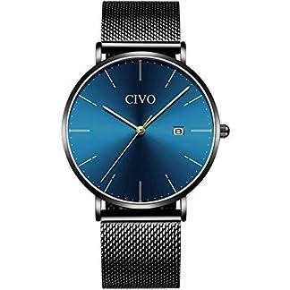 CIVO-Herren-Uhren-Manner-Wasserdicht-Schwarz-Edelstahl-MeshLeder-Armbanduhr-Mann-Ultra-Dnne-Minimalistische-Mode-Coole-Analoge-Datum-Quarzuhren-fr-Herren-3-SchwarzWei