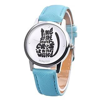 Fasching-Karneval-Uhren-DELLIN-Mode-Nette-Buchstaben-Katzen-Nette-Frauen-Mdchen-Lederband-Analog-Alloy-Quarzuhr