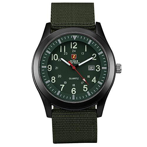 ZEIGER-Militr-Serie-Herren-Uhr-Analog-Quarz-Grn-Armbanduhr-Datum-Anzeiger-W283