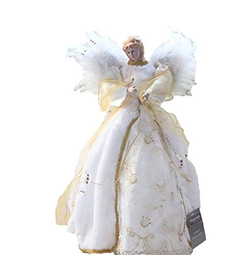 Luxus-Gold-Ivory-Engel-Feder-Flgel-Kunstfell-Pailletten-Coat-Christbaumspitze-Qualitt-Fairy-Angel