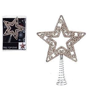 18cm-Rose-Gold-Glitter-Baum-Top-Star-Springy-Base-Christbaumschmuck
