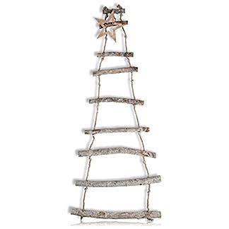 CHICCIE-Deko-Holzleiter-Hngend-mit-Stern-110cm-Dekoleiter-Holz-Leiter-Weihnachten-Tanne-Holzste