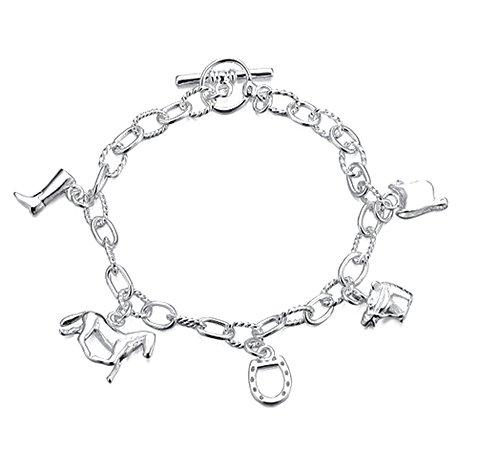 GemsLady Sterlingsilber 925 plattiertes Armband mit verschiedenen Anhänger in bezug auf Pferden