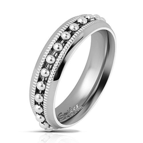Tapsi´s Coolbodyart® Herrenring Bandring in silber mit eingefasster Kugel-Kette in silber und Diamantschnitt Breite : 6 mm Größe 5/6/7/8/9/10/11/12/13
