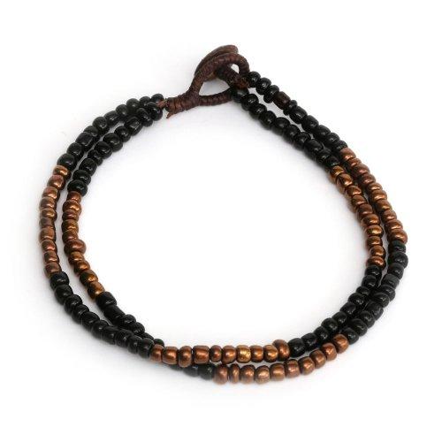 Idin Fußband – Doppelsträngig mit schwarzen und braunen Perlen (ca. 24 cm)