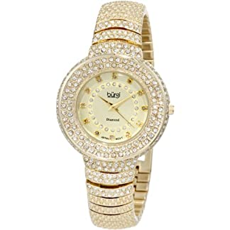 BURGI-Damen-Armbanduhr-Diamond-Accent-Analog-Quarz-BUR048YG