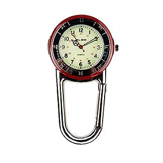 Silber-Clip-auf-Taschenuhr-mit-roten-Akzenten-Luminous-Karabiner-Krankenschwester-Paramedic-rzte-etc
