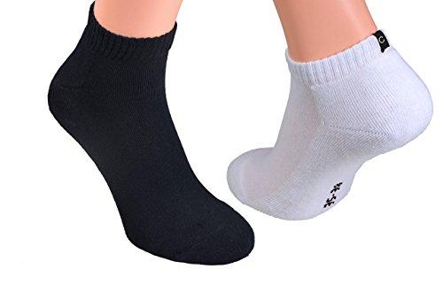 6 oder 12 Paar Sport-Sneakers oder Kurz-Socken mit Frotteesohle Marke Cocain in schwarz und weiß für Damen und Herren