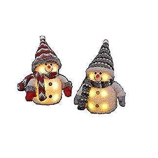 2x-Schneemann-mit-LED-bunter-Schal-Mtze-Hhe-ca-20-cm-Beleuchtung-warmwei