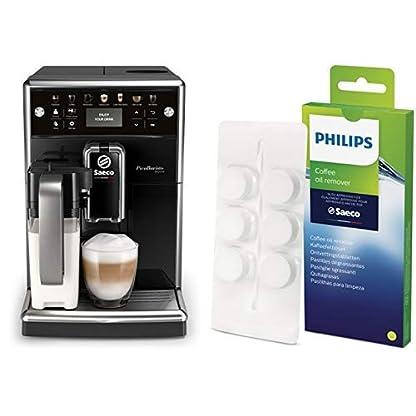 Saeco-SM557010-PicoBaristo-Deluxe-Kaffeevollautomat-LED-Display-integriertes-Milchsystem-schwarz-Philips-CA670410-Kaffeefettlser-6-Tabletten-fr-Philips-Saeco-und-andere-Kaffeevollautomaten
