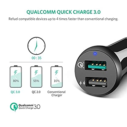 UGREEN-30W-Auto-Schnellladegert-2-Port-Auto-USB-Ladegert-Quick-Charge-30-Auto-USB-Steckdose-kompatibel-mit-Samsung-Galaxy-S9Note9S8-Sony-Xperia-XZ3-Huawei-P9-iPhone-XSXrX8-Navigation-usw