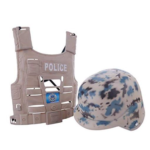 YAKOK-9er-Polizei-Kinder-Set-Rollenspiel-Polizei-Spielzeug-Polizei-Set-fr-Kinder-Kleinkind-Jungen-mit-Weste-Abzeichen-Handschellen-Schlagstock-Uhr-Taschenlampe-und-Walkie-Talkie