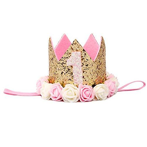 SODIAL Blumenkrone Neugeborenen Stirnband Gold Geburtstag Krone 1 Jahr Anzahl Prinzessin Stil Geburtstag Hut Baby Haar Accessoire