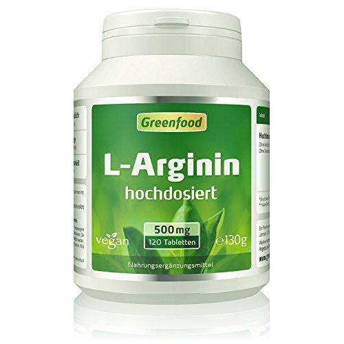 Greenfood L-Arginin, 500 mg, 120 Tabletten, hochdosiert, vegan – aus natürlicher Fermentation. Ohne künstliche Zusätze.