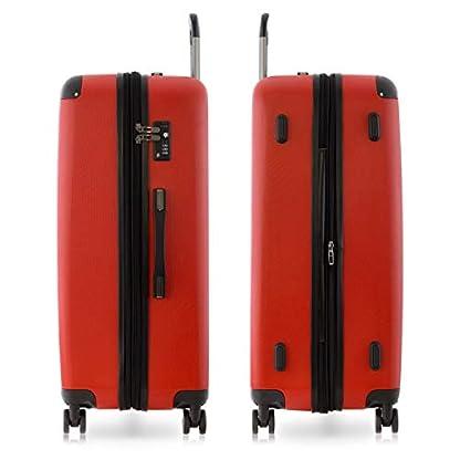 Happy-Trolley-3er-Koffer-Set-Trolley-Set-Rollkoffer-Hartschalen-Koffer-Reisekoffer-Lugano-sehr-leicht-TSA-S-M-XL-Rot-Badehandtuch