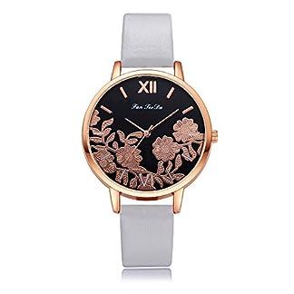 Lazzgirl-Luxuxmode-Leder-Band-analoge-Quarz-runde-Armbanduhr-UhrenMehrfarbig
