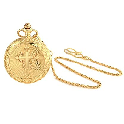 Bling-Jewelry-Religise-Kreuz-rmische-Ziffer-weisses-Zifferblatt-Runde-Mens-Taschenuhr-Gold-Ton-vergoldet-Legierung-mit-Kette