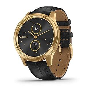 Vivomove-Luxe-Smartwatch-Hybrid-Analog-Digital-Unisex-Goldgehuse-Schwarzes-Lederarmband-010-02241-02