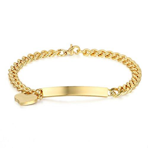 JewelryWe Schmuck Edelstahl Armkette mit Gravur Damenarmband Charmsarmband Herz- Anhänger Armband für Damen Mädchen