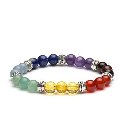 PURLAPIS ® Edles Naturstein Armband mit 7 Chakra Steinen | Erhältlich in 4 Verschiedenen Versionen: Lava, Howlith, Tigerauge oder Full Chakra | 100% Handarbeit